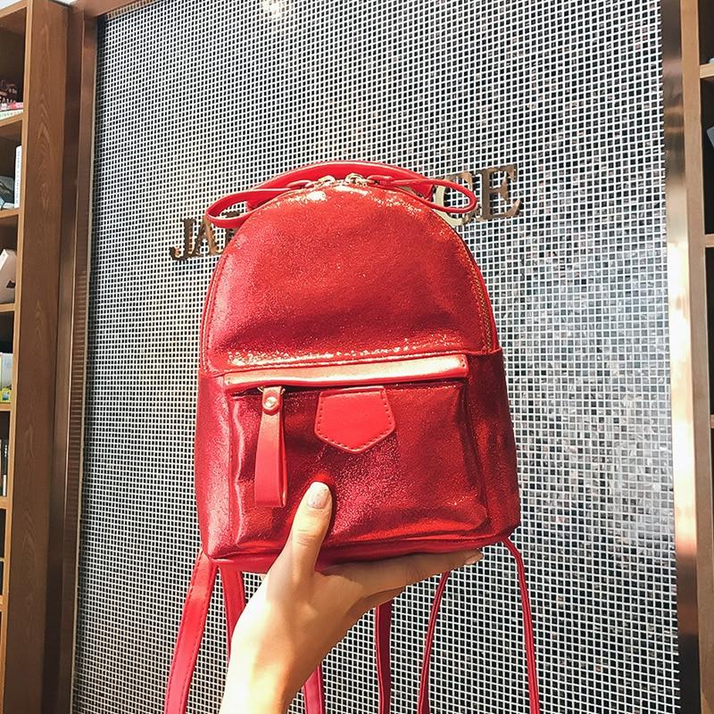 Fashion 2018 laser PU Leather Women Backpack Children Back Pack Small Backpacks For Girls Ladies Shoulder Bags Bling