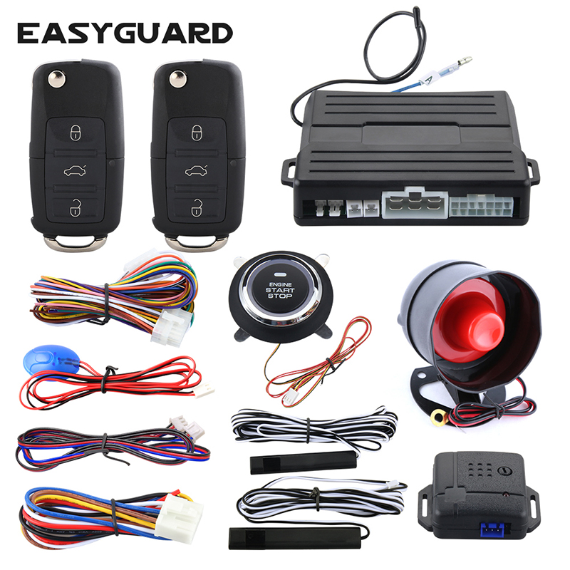 Easyguard PKE car alarm system passive keyless entry kit remote engine start push button start remote lock unlock easyguard pke car alarm system remote engine start