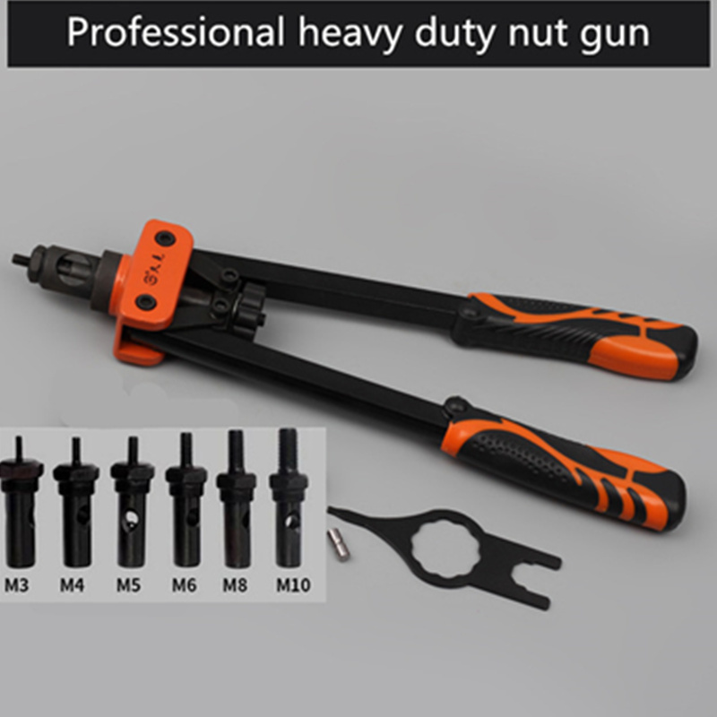 Free Shipping 360mm Blind Rivet Nut Gun Heavy Hand Inser Nut Tool Manual Mandrels M3 M4 M5 M6 M8 M10