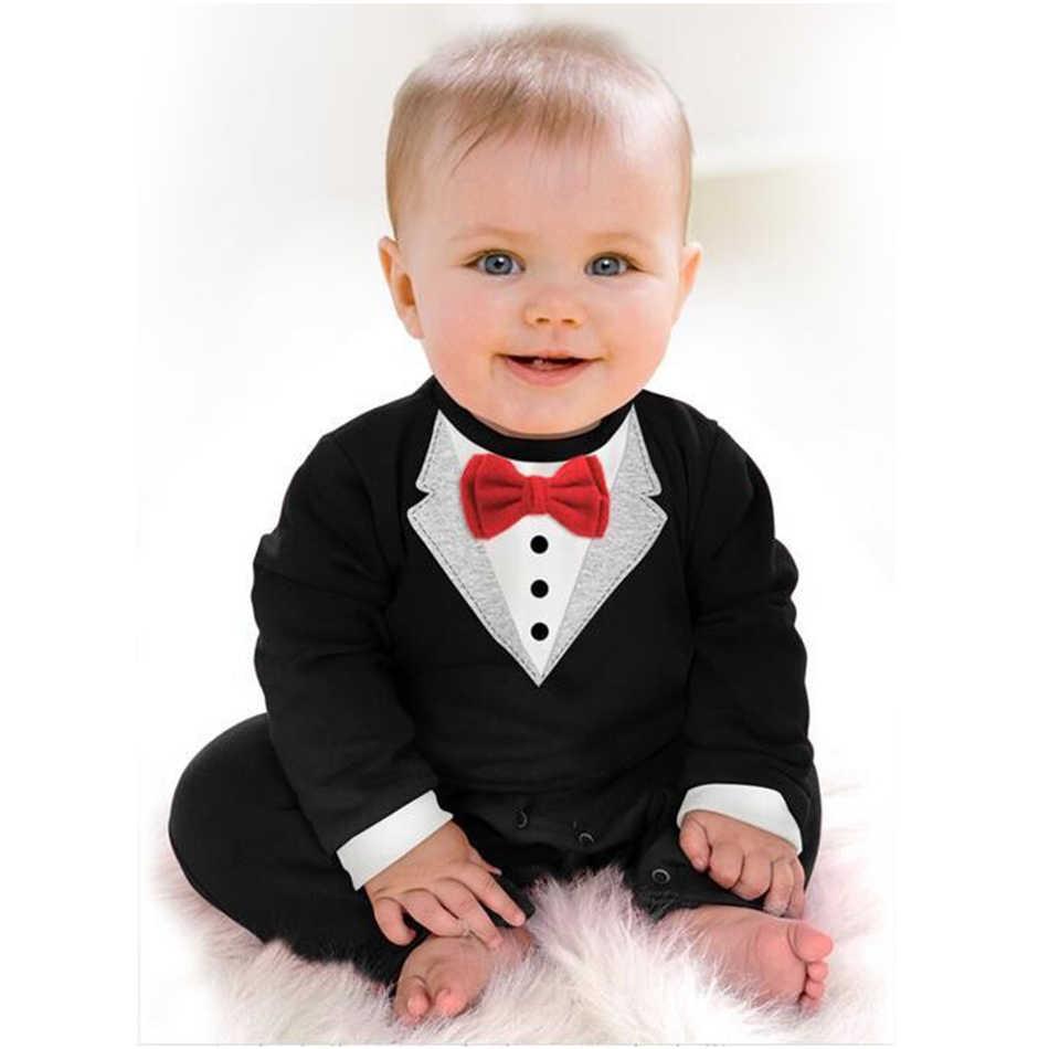 Детские комплекты одежды для малышей боди для маленьких мальчиков и девочек, цельный смокинг джентльмена, черный, красный комбинезон для новорожденных, унисекс