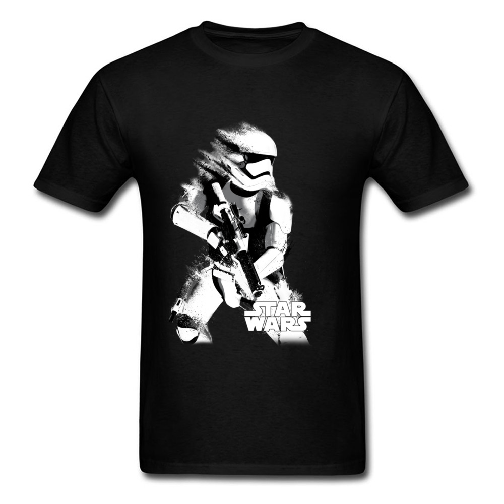 Fashion Men T Shirt <font><b>Star</b></font> <font><b>Wars</b></font> <font><b>Tshirt</b></font> Fade Stormtrooper Tops Printed T-shirt Cotton Clothes <font><b>Christmas</b></font> Gift Black Tee Discount image