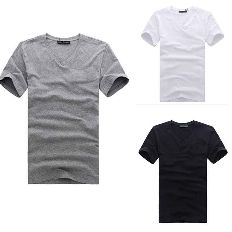 New Fashion Mans V-Cổ Bông Slim Fit T-Shirt Màu Rắn Tees Top ML XL XXL XXXL Quần Áo Stylish mens Slim Tops t-shirts