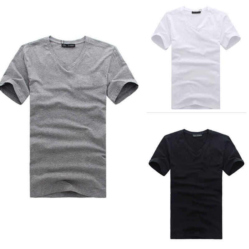Nowe mody Mans dekolt w serek bawełna Slim dopasowany t-shirt jednokolorowe koszulki Top M L XL XXL XXXL ubrania stylowe męskie topy Slim t-shirty