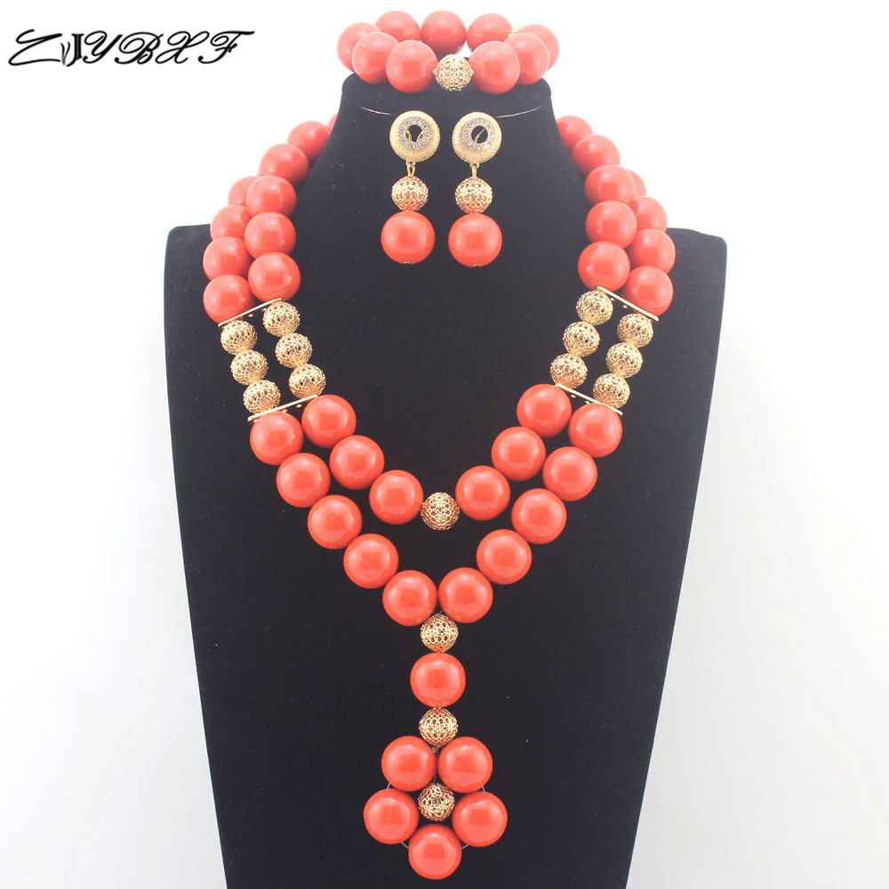 Fashion Orange Nigerian Wedding Costume Jewelry Sets for Women African Coral Beads Bridal Party Necklace Earrings Set L0089Fashion Orange Nigerian Wedding Costume Jewelry Sets for Women African Coral Beads Bridal Party Necklace Earrings Set L0089