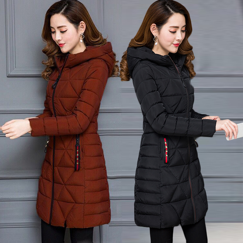 Plus Size 6XL Winter Female Women Cotton Jacket Hooded Thick Warm Parkas Slim Solid long wadded jacket Fashion Tops Outerwear