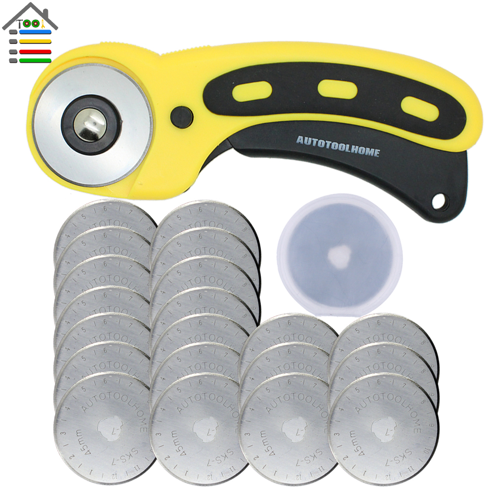 45mm Rotary Cutter 20pc Refill Blades Set For OLFA Fabric Paper Vinyl Circular Cutting Knife Blade Patchwork Leather Sewing Tool china manufacturing circle cutter blade for cutting rubber circular slitting machine blades