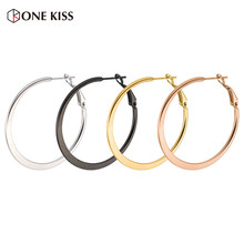 60mm Hoop Earrings High Polishing Stainless Steel Rose Gold Color Minimalist Wide Large Circle Earring for Women Jewelry Gift(China)