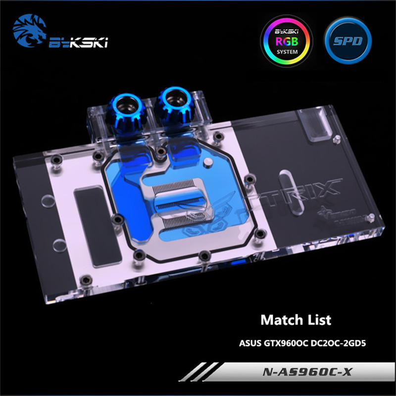 Bykski Full Coverage GPU Water Block For ASUS GTX960OC DC2OC-2GD5 Graphics Card N-AS96OC-X sapphire r9 370 gpu cooler video cards fan for radeon sapphire r9 370 1024sp 4g 2g v2 oc graphics card cooling