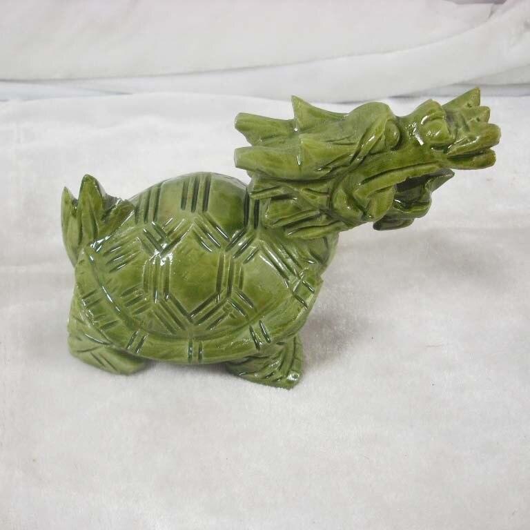 TNUKK chine naturel jade dragon tortue leader sud long jade ornements ameublement meubles Meshach Wangcai