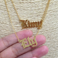 Old English Name Neckalce Personalized Set Of 2 Necklaces Separate 2 Chains Double Names Gothic Pendent