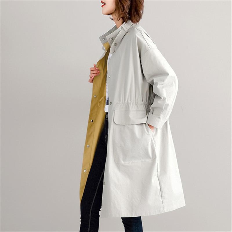 High Quality Women   Trench   Coat Fashion Double-faced Wear Long Outwear Large Size Windbreaker Female Spring Women Basic Coat