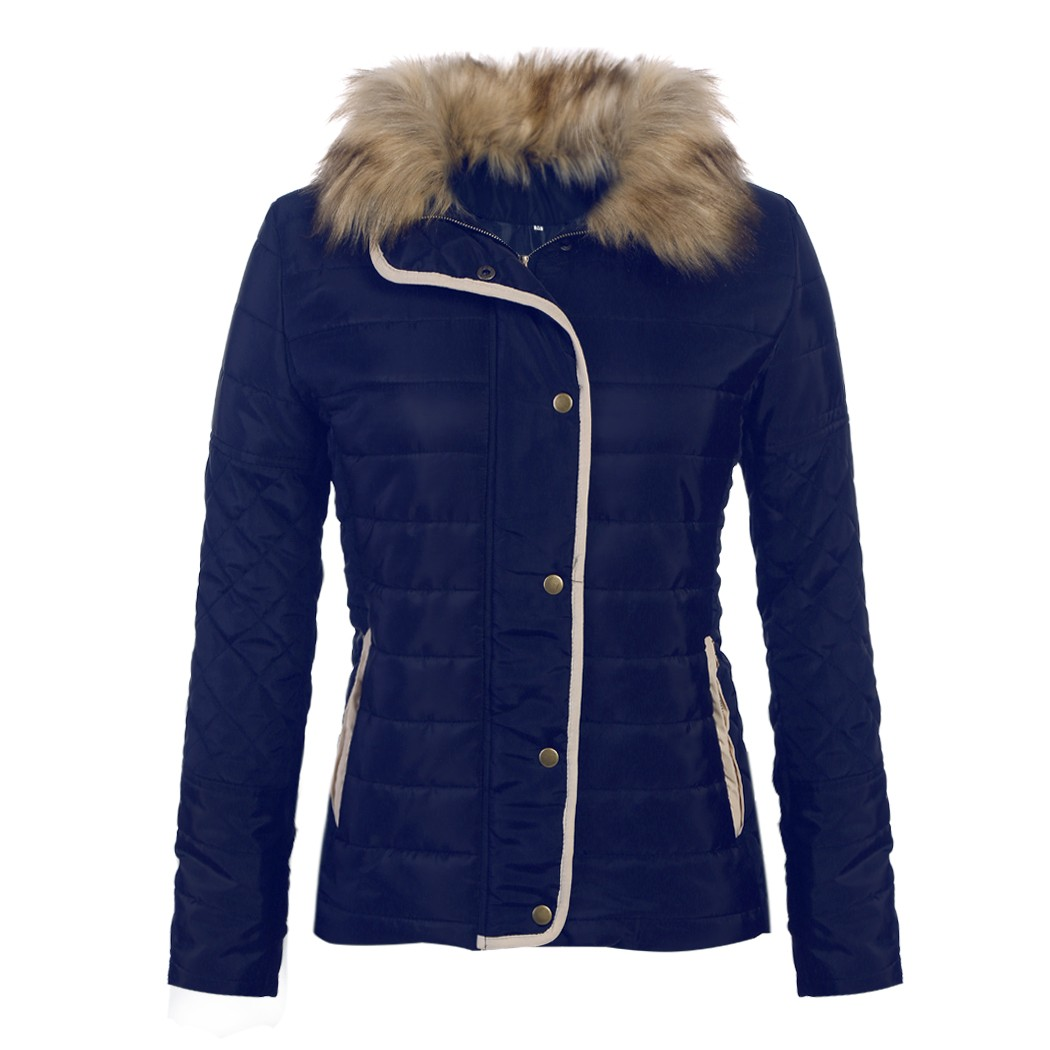Alishebuy Women Winter Fashion Stand Collar Long Sleeve Quilted Zip up Slim Jacket Coat Outwear