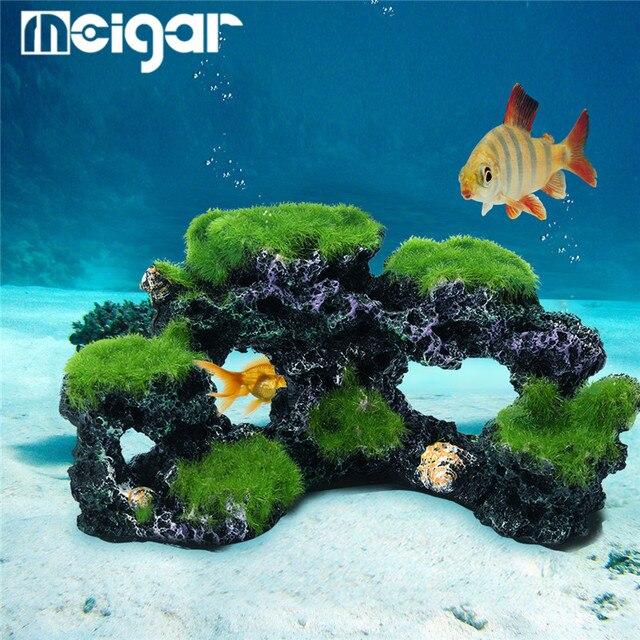af1f05b463c5 Resin Fish Tank Cave Moss Bridge Decor Aquarium Rockery Mountain View Coral  Reef Rock Landscape Underwater