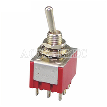 цена на 50PCS MTS-302R 3PDT ON-ON 9 Pin Toggle Switch Red 3 Pole Double Throw 3-way With Solder Terminal