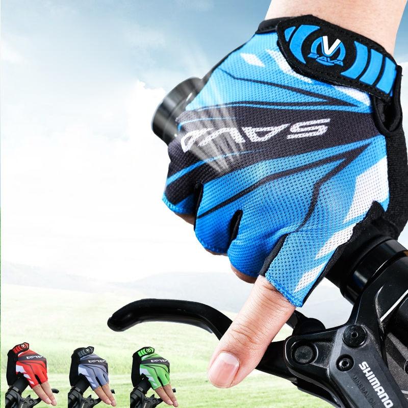 Καλοκαιρινά αναπνευστικά αθλητικά γάντια ποδηλασίας με ημίχρονο δάκτυλο MTB Ποδήλατο ποδηλάτου ποδηλάτου Αντιολισθητική πρόσκρουση γαντιών Αξεσουάρ ιππασίας