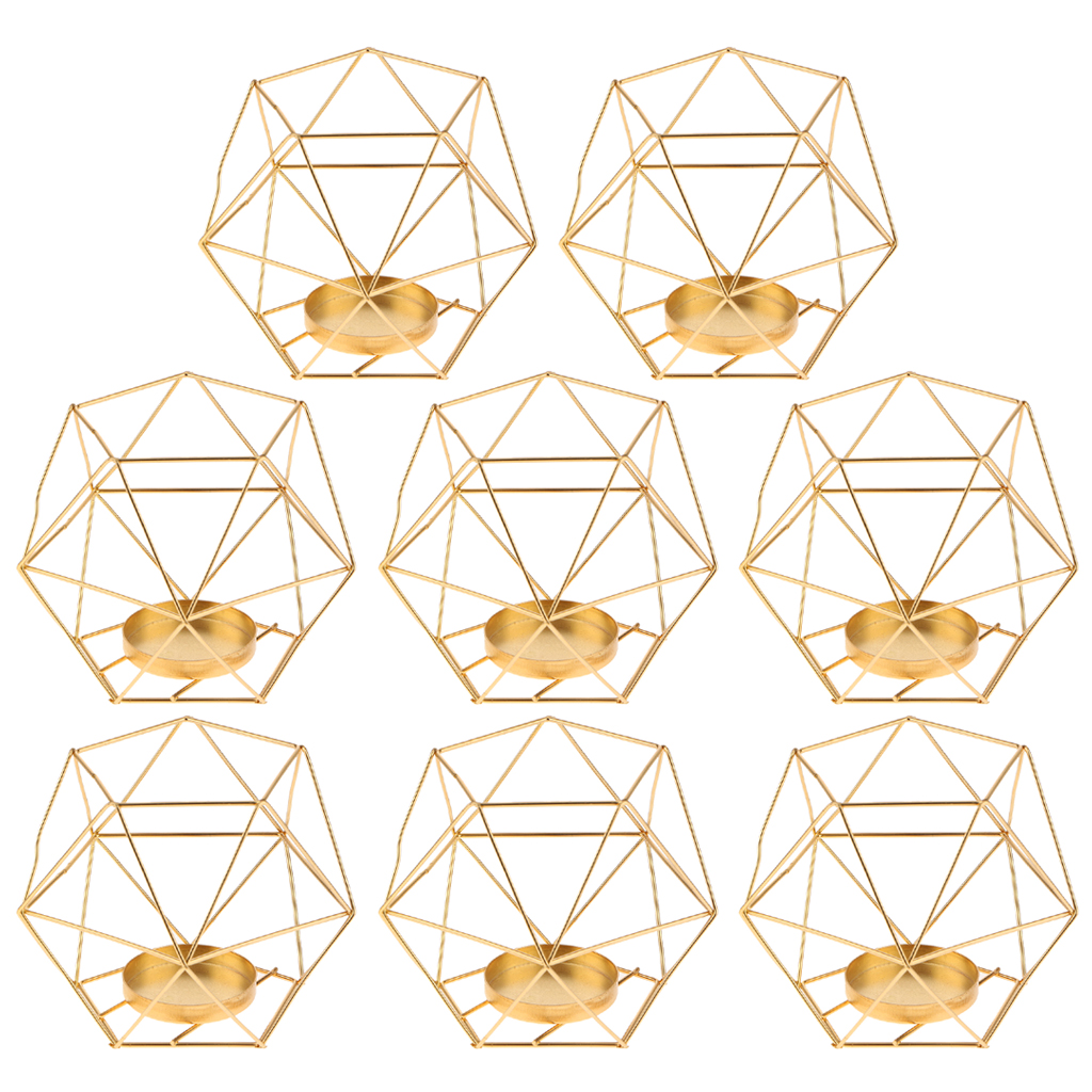 Image 2 - Pack 8 3D Geometric Tea Light Candle Holders Stands Wedding Centerpieces Home Decor ,GoldCandle Holders