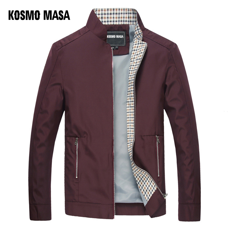 Image 2 - KOSMO MASA Black Jacket Mens Autumn Spring 2018 Man Thin Jackets Windbreaker Collar Stand Casual Jacket for Men Outwear MJ0066-in Jackets from Men's Clothing