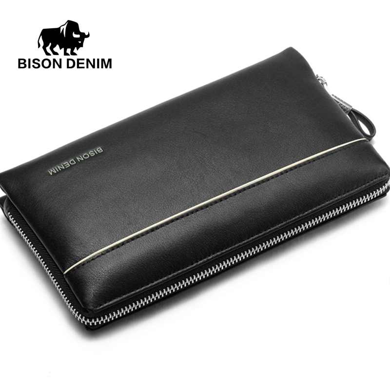 BISON DENIM Brand 2017 Big Capacity Mens Clutch Wrist Strap Purse Genuine Leather Wallet Cowhide Bag men Zipper Open Bag N2292-1