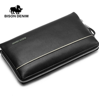 BISON DENIM Brand 2016 Big Capacity Men Clutch Wrist Strap Genuine Leather Cowskin Wallet Bag Men
