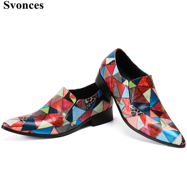 04f95f739d15 2018 Stylish Patchwork Loafers Luxury Brand Men Shoes Leather Multicolor  Plaid Men s Flats Shoes Handmade Loafers