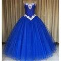 Azul royal prom vestidos formais strapless applique tulle vestido de baile vestidos quinceanera para sweet 15 anos vestido de quinceanera