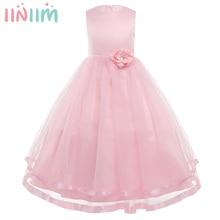 Iiniim Váy Đầm Công Chúa Cho Bé Gái Không Tay Xếp Lớp Voan Đầm Hoa Bé Gái Cuộc Thi Cưới Cô Dâu Sinh Nhật Đầm