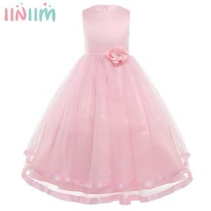 Image 1 - Iiniim Váy Đầm Công Chúa Cho Bé Gái Không Tay Xếp Lớp Voan Đầm Hoa Bé Gái Cuộc Thi Cưới Cô Dâu Sinh Nhật Đầm
