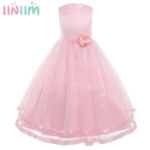 Image 1 - iiniim Princess Dress for Kids Girls Sleeveless Layered Tulle Flower Girl Dress Pageant Wedding Bridesmaid Birthday Party Dress