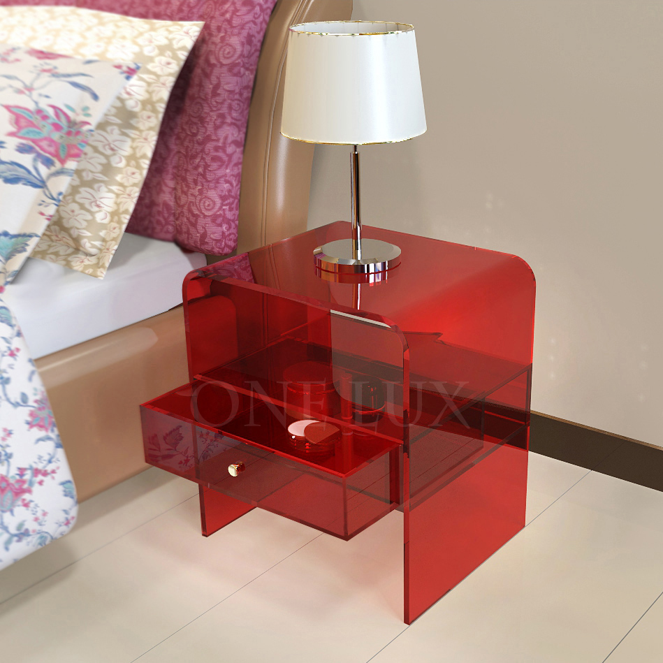 Waterfall Acrylic Drawer Nightstands,Lucite Plexiglass bedroom bedside table ONE LUX hot sale c shaped waterfall acrylic occasional side table