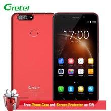 Gretel S55 Smartphone Android 7.0 Double Retour Caméra 5.5 Pouce 1 GB RAM 16 GB ROM Quad Core 8MP 2SIM D'empreintes Digitales 3G Déverrouiller Cellulaire téléphone