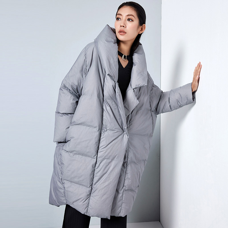 LYNETTE'S CHINOISERIE 2017 Winter New Original Design Women Ultra Loose Notched Collar Cocoon Style White Duck Down Coat Jackets