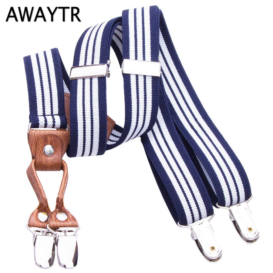 AWAYTR Summer Braces for Baby 60 cm Kids Suspenders Striped Belts for Clothing 4 Clips Leather Suspensorio Children Gifts