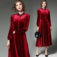 Free Shipping 2018 New Fashion Plus Size S 2XL Velour Long Maxi One piece Dress Spring Autumn Velvet Pleated Dresses For Women