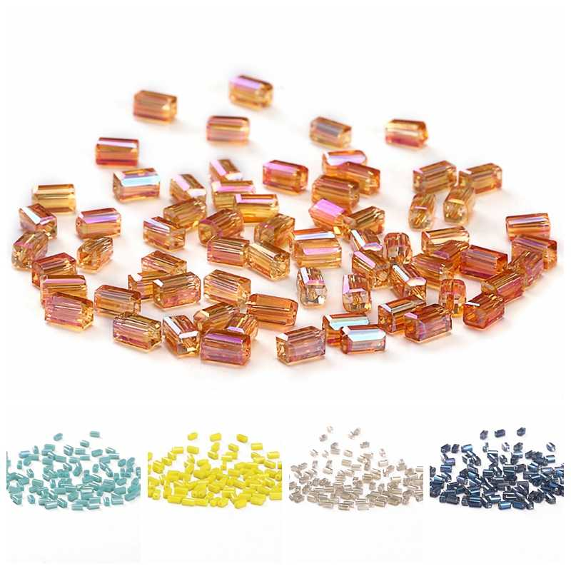 Square Crystal Beads for Jewelry Making AB 50pcs 2*4mm Austria Crystal Square-shape Loose Beads DIY Jewelry Crafts C-3