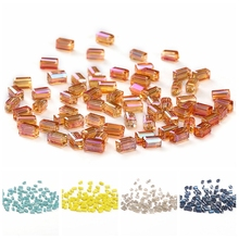 Square Crystal Beads for Jewelry Making AB 50pcs 2*4mm Austria Square-shape Loose DIY Crafts C-3