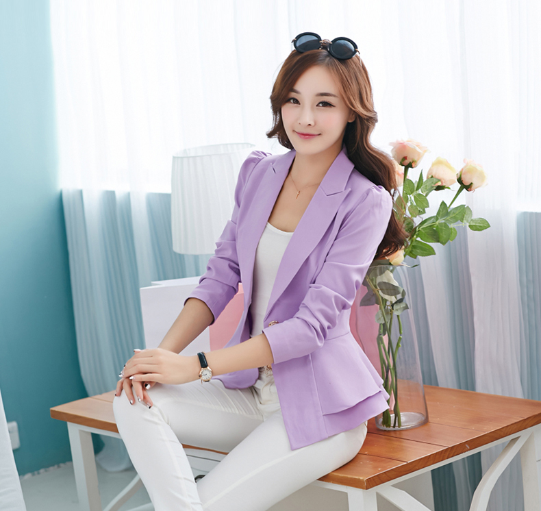 J42939 Patchwork Regular Single Button Notched Office Lady Blazer Jacket