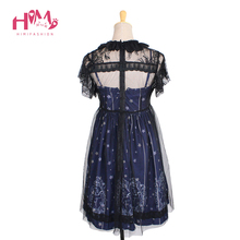 Sky Constellation Gothic Lolita Dress vestidos Dark Blue JSK Veil Tunic Night Angel Pattern Short Sleeve Dresses