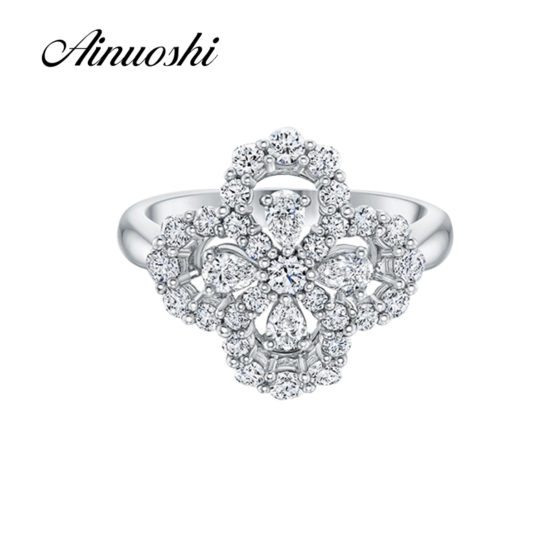 AINOUSHI New Unique Design Flower Shape Wedding Ring Pear Cut Sona Pure 925 Sterling Silver for Women Engagement Lovers Promise