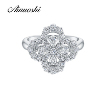 New Unique Design Flower Shape Wedding Ring Sona Synthetic Diamond Pure 925 Sterling Silver Platinum Plated