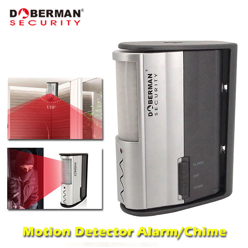 Doberman Security Motion Sensor Home Security Alarm Sensor Detector Infrared Motion Alarm Chime IR Doorbell Alarm Welcome Chime