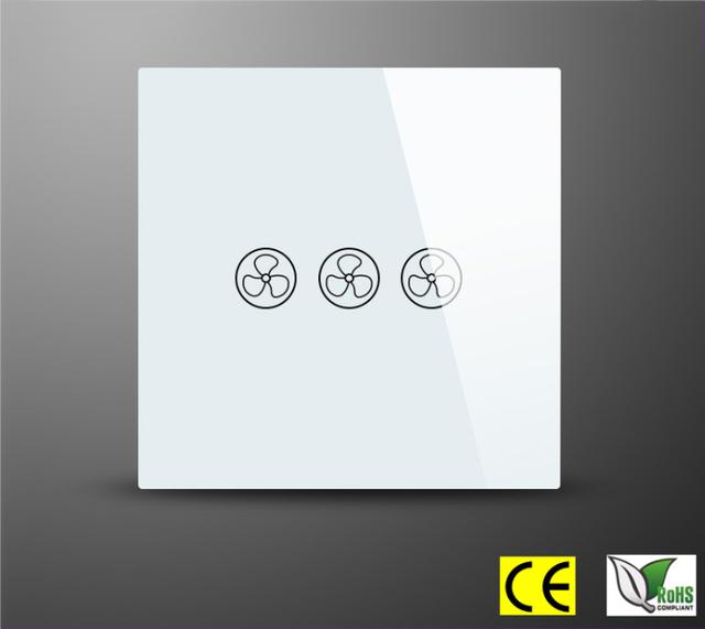 REINO UNIDO Tipo 3 Modo de Velocidad Táctil Interruptor de Velocidad Del Ventilador Interruptor Del Ventilador con el panel de cristal y luz de fondo LED azul 220 V Zmlink Inteligente casa