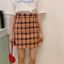 YICIYA Korean Harajuku Style Sexy Yellow Plaid Mini Short Skirt Orange A-Line High Waist Vintage Checkered Women