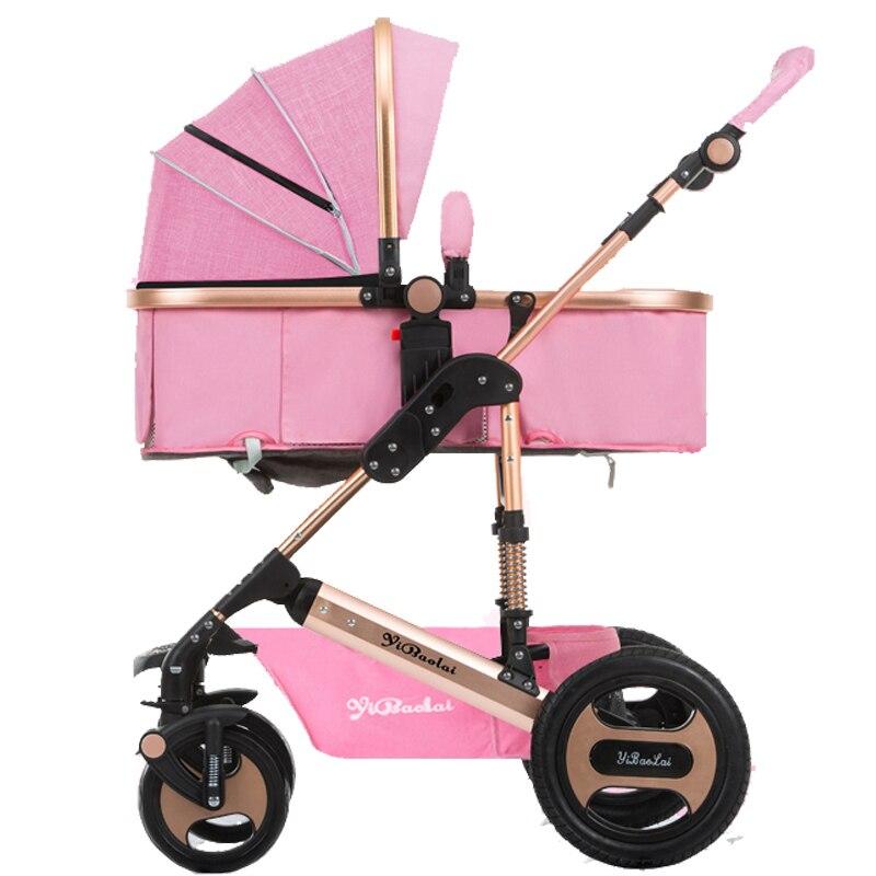 YIBAOLAI 2in1 high landscape can sit reclining folding shock absorber winter and summer childrens trolleys lightweight stroller