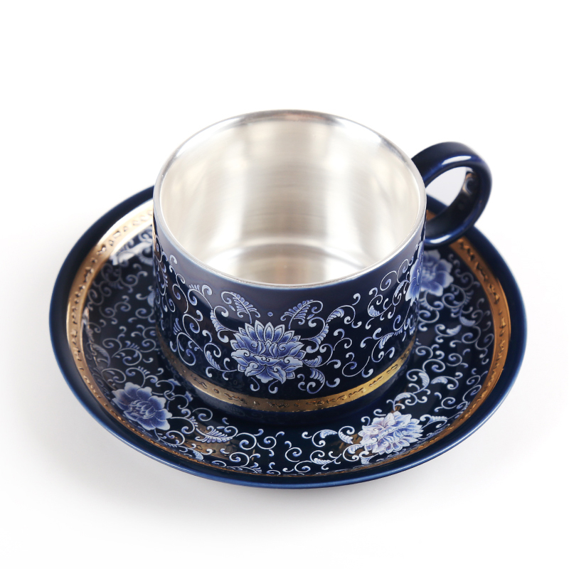 Cerámica S999 plata esterlina taza de café taza plato creativo regalo pareja taza viaje Oficina hogar jugo taza - 3