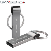 WANSENDA Keychain USB Flash Drive 64GB Metal Pen Drive 4GB 8GB 16GB 32GB Pendrive USB 2.0 Memory Stick Flash Drive