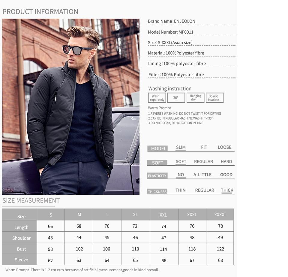 marca Enjeolon abrigo chaqueta hombres Parka acolchada algodón de 7PPSwR