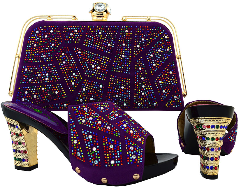 ФОТО Italian Design High Heel 38-42 Shoes And Bag Set African Style Sandal Shoes With Handbag Sets For Wedding&Party BCH-19 PURPLE