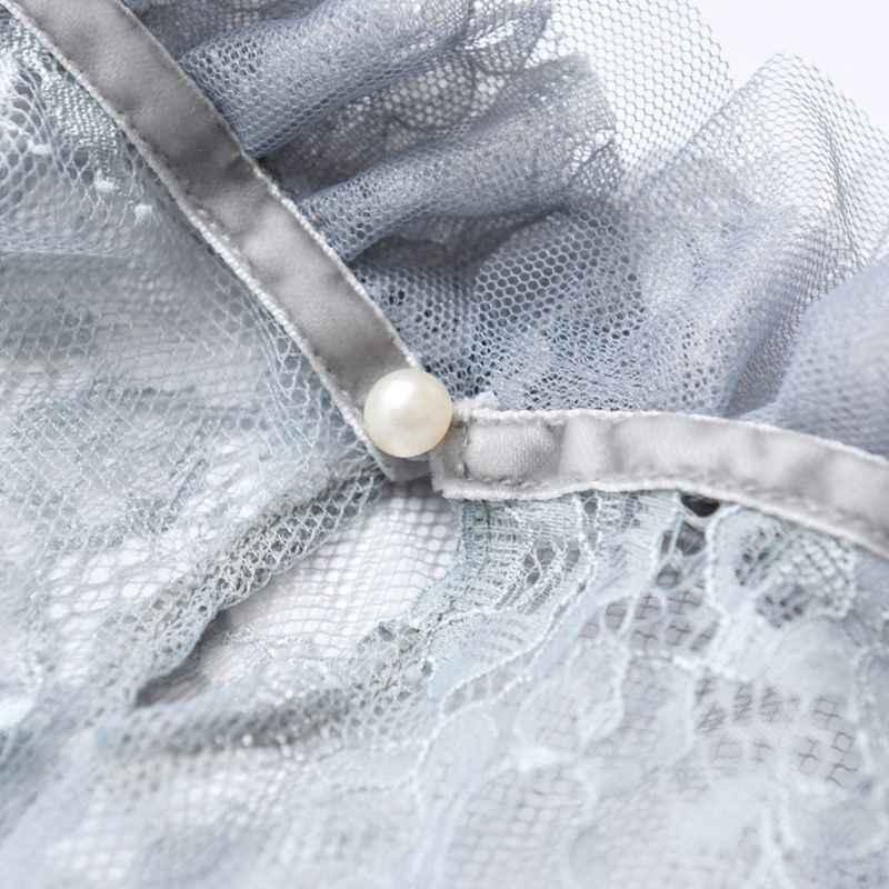 レディースロングフレアスリーブシアーメッシュブラウス中空アウト刺繍花レースシャツ水着カバーアップフリルネック無地 B