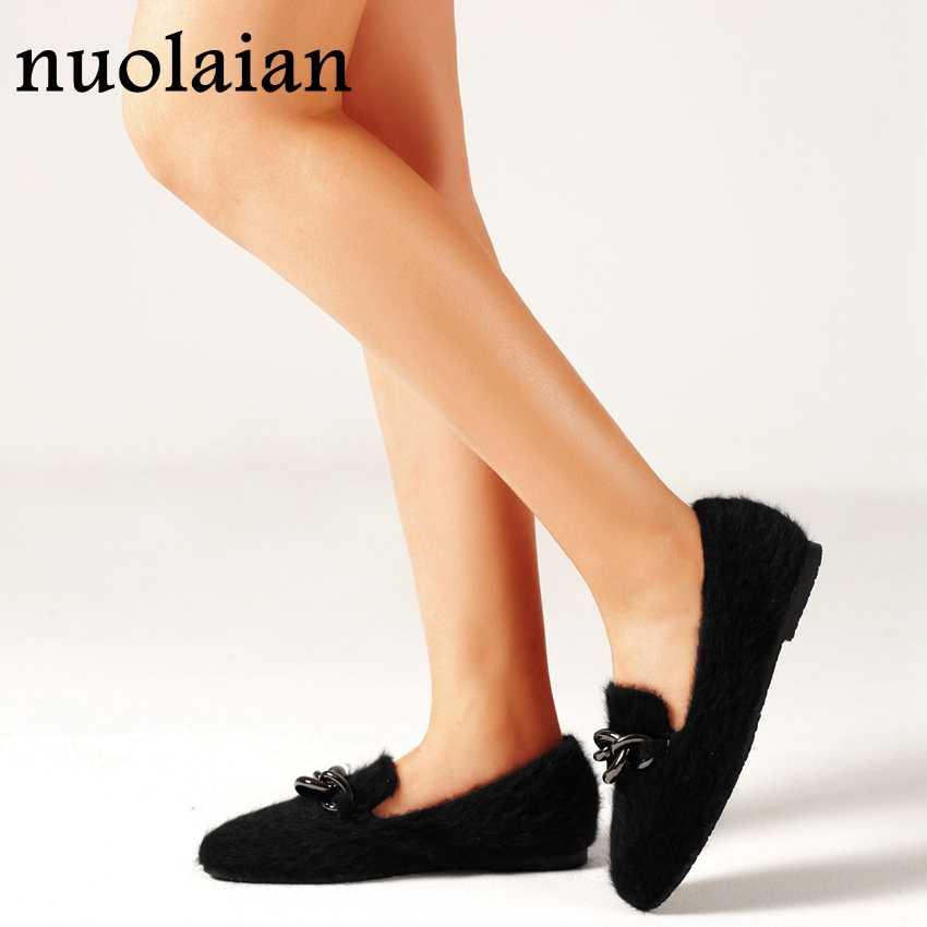 Black Horsehair Flat Shoes Woman Dress