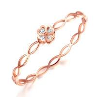 Heyrock Filles Rose Bracelet En Or Bracelet Creux Amour Coeur Cristaux Chanceux Fleur Ouvrable Charme Main Jewerlry 17 CM